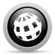 earth black circle web glossy icon