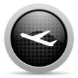 airplane black circle web glossy icon
