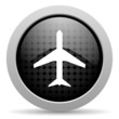 airplane black circle web glossy icon