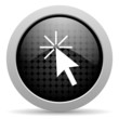 click here black circle web glossy icon