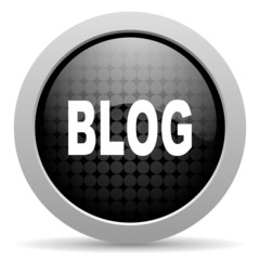blog black circle web glossy icon