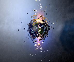 Mondo terra globo esplosione meteorite asteroide