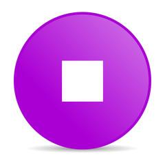 stop violet circle web glossy icon