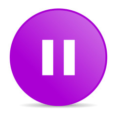pause violet circle web glossy icon