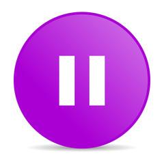 pause violet circle web glossy icon