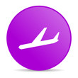 airplane violet circle web glossy icon