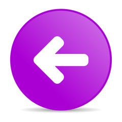 arrow left violet circle web glossy icon