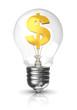 Light bulb with a dollar sign