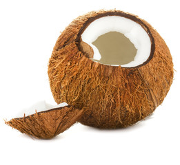 Cracked coconut on a white background