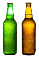 Brown and green beer bottles with drops isolated