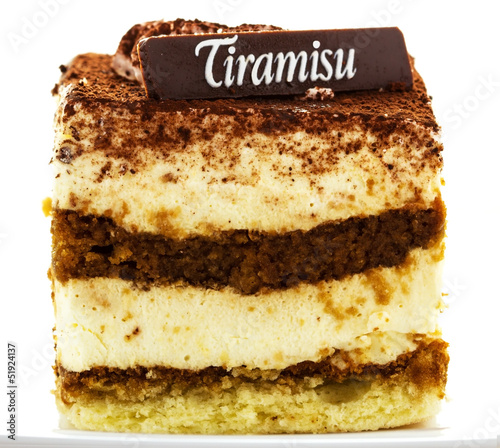 Delicious tiramisu dessert with cacao powder on top