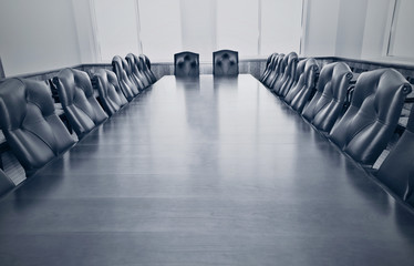 Stylized photo of an empty conference room