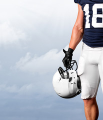 American Football Player Standing Strong