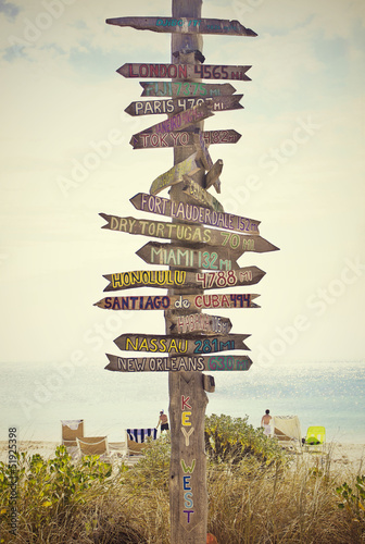 Directional Sign Post on the Beach