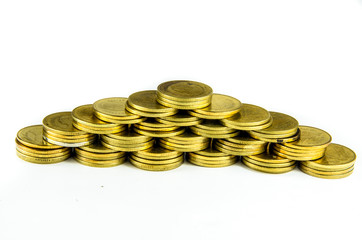 Gold coin with isolated background