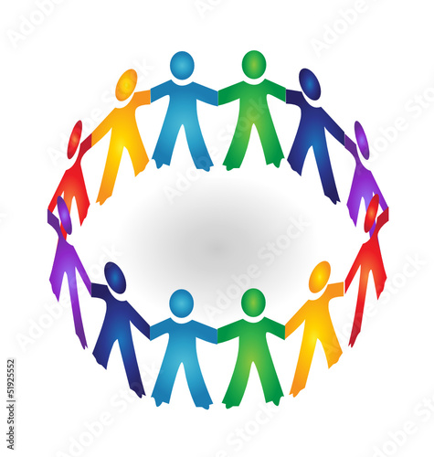 Teamwork holding hands logo vector