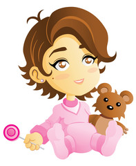 Baby girl with Teddy bear. EPS10