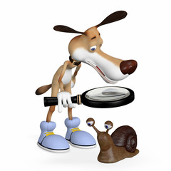 Illustration. The dog with a magnifying glass examines a snail.