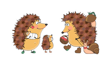 Family fun hedgehogs. Vector Illustration.