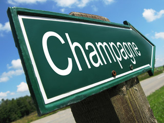 Champagne road sign