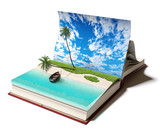 book with a tropical island