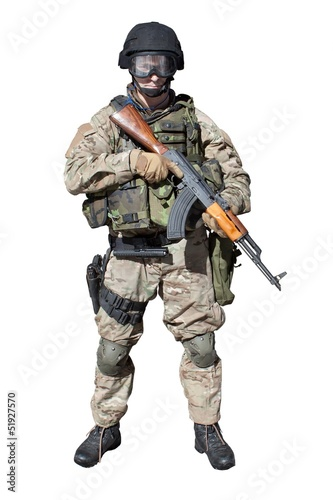 Special Forces soldier assault rifle AK-47, isolated on white