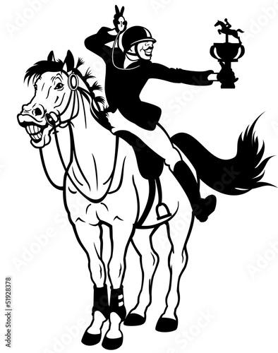 rider winner black white
