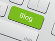 Green blog button on computer keyboard