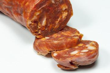 scharfe geschnittene Salami