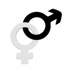 3d male and female symbols