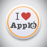 I Love Apple -Vector button badge