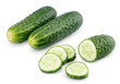 Sliced cucumber vegetable isolated on white with clipping path