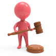 Little red man holds a gavel