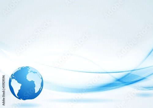 Vector blue tech background with abstract waves