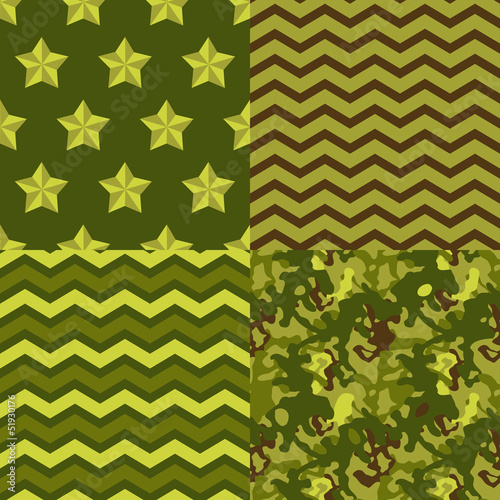 Military green seamless patterns set: camo, chevron, stars