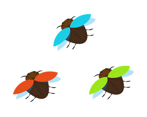 three brown bugs with different color wings
