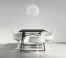 Minimal contemporary luxury design dining room, classic chairs