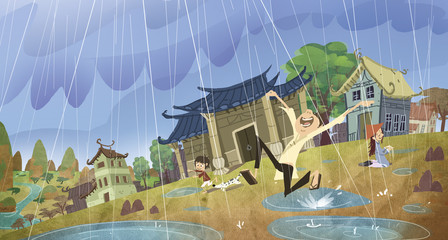 lloviendo en un pueblo