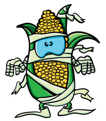 Funny cartoon corn is the mummy