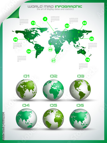 Infographic layout template with world maps.