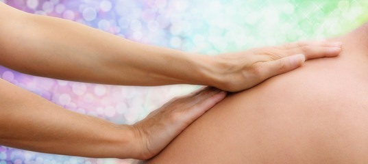 Healing massage website banner head, soft focus