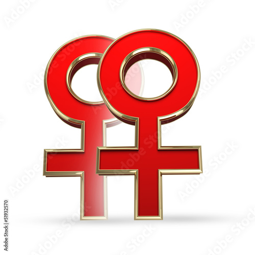 Lesbian sex symbol isolated - clipping path