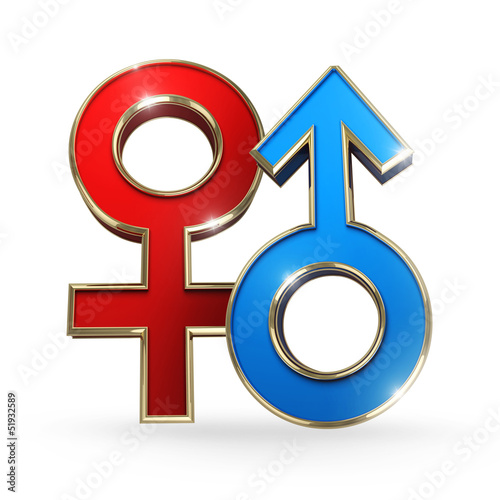 gender female and male symbol - clipping path