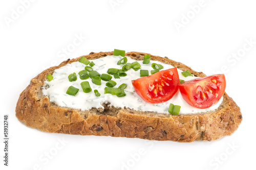 Sandwich with cream cheese and tomatoes