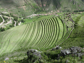 Urubamba valley terraces. Below Machu Picchu. Peru