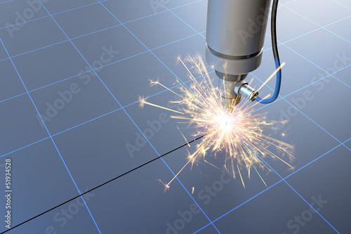 Industrial laser cutting of steel glowing 3D wire