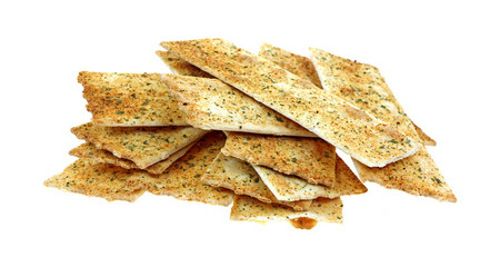 Flat Bread Strips on White