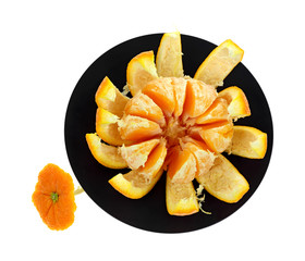 Navel Orange Peeled Black Trivet