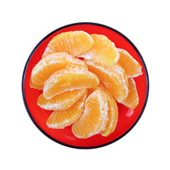 Navel Orange Slices Red Plate