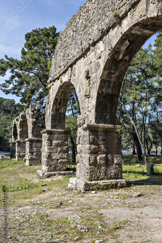 Water arches of Phaselis in Antalya city of Turkey